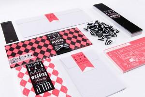 Pink and Black invitation set dita